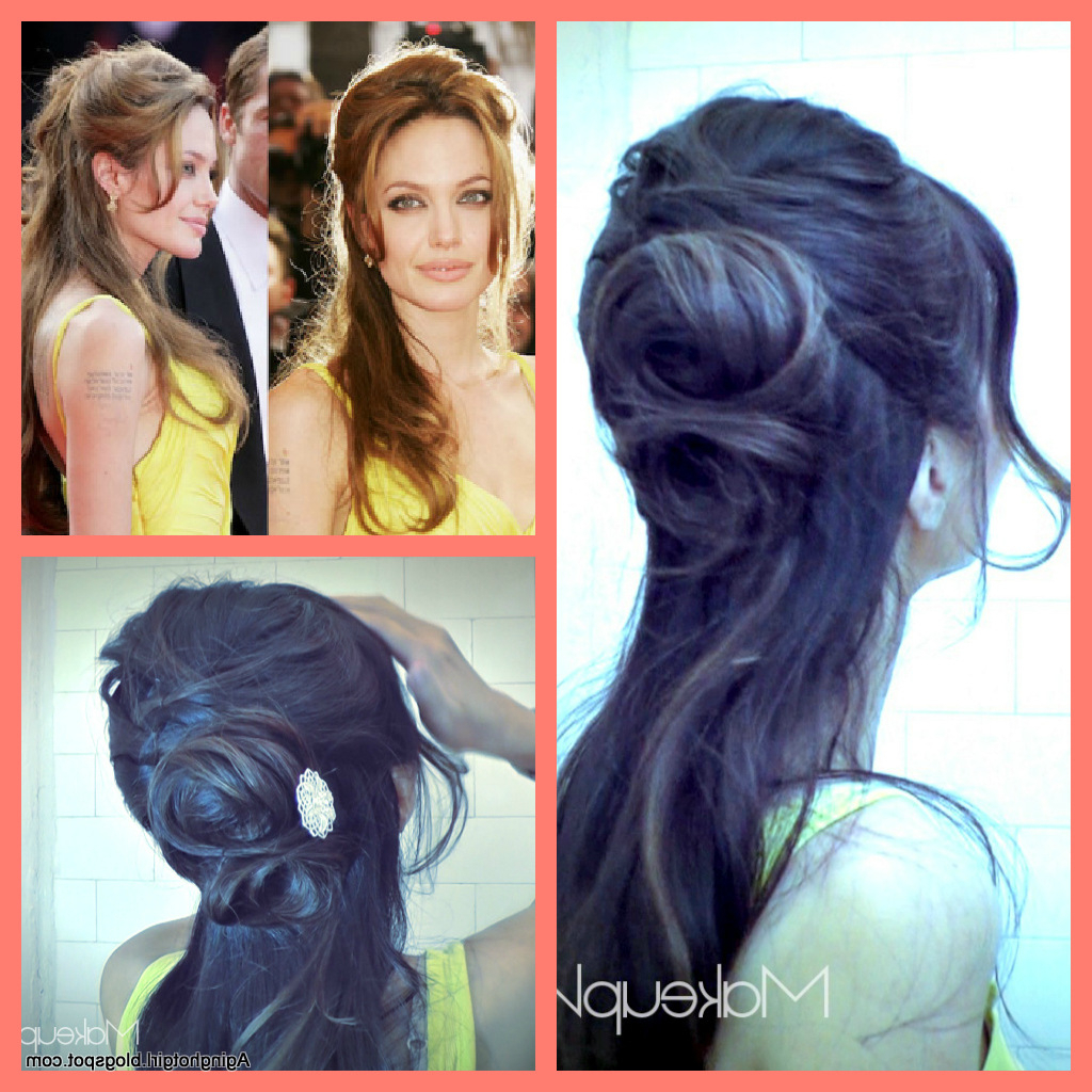 Angelina Jolie Inspired: How To Flower Bun Chignon Updo Hairstyles Intended For Most Recently Released Angelina Jolie Medium Hairstyles (View 10 of 20)
