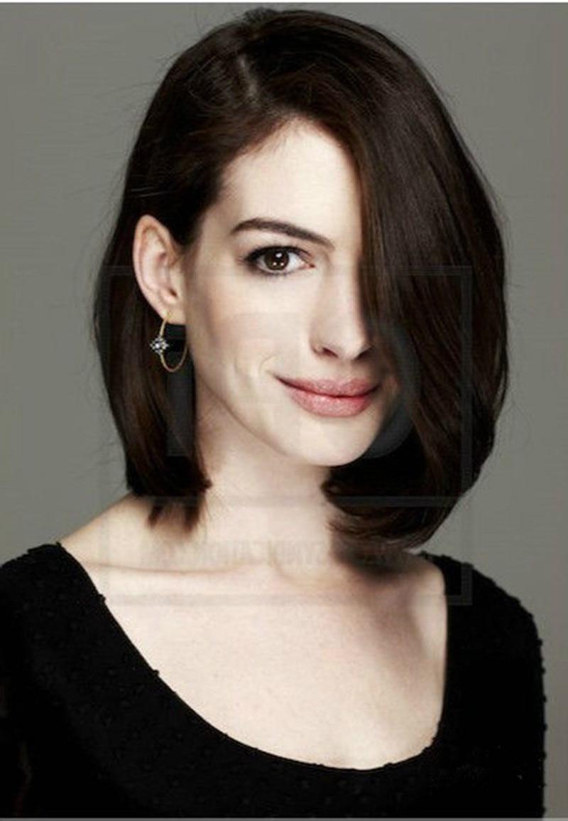 Anne Hathaway Medium Haircut Anne Hathaway Hairstyle Natural Brown Regarding Latest Anne Hathaway Medium Haircuts (View 14 of 20)