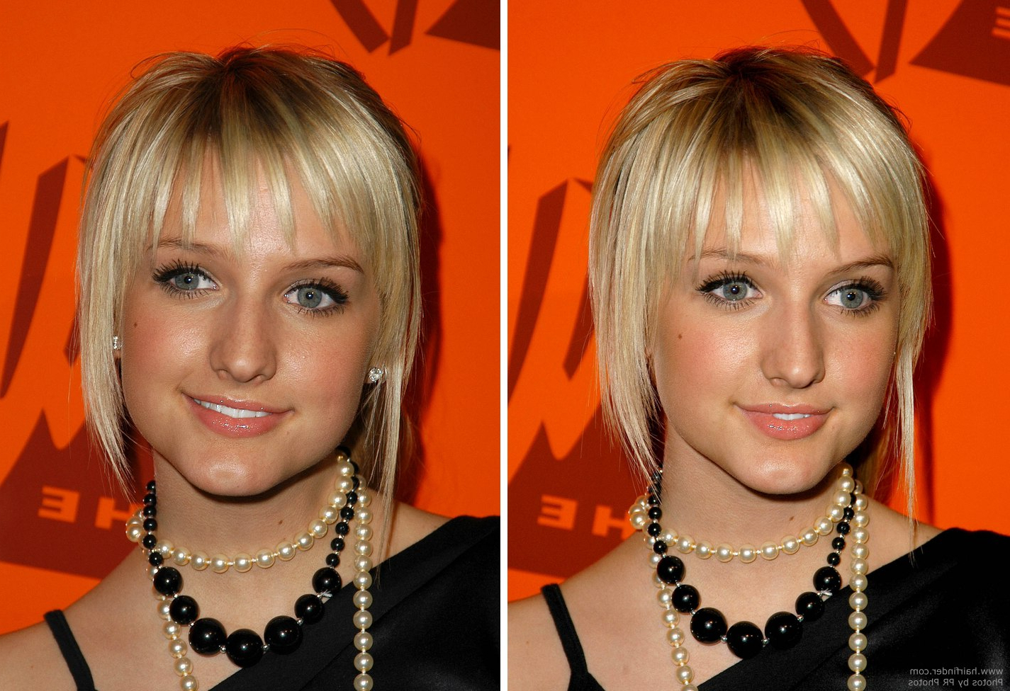 Ashlee Simpson With Her Hair In A Simple Ponytail And Wearing A In Favorite Ashlee Simpson Medium Hairstyles (View 14 of 20)