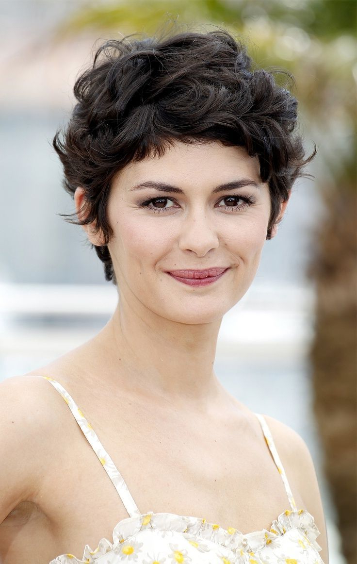 Audrey Tautou Short Haircut: Very Closely Chopped Brunette Curly Intended For Well Known Audrey Tautou Medium Haircuts (View 7 of 20)