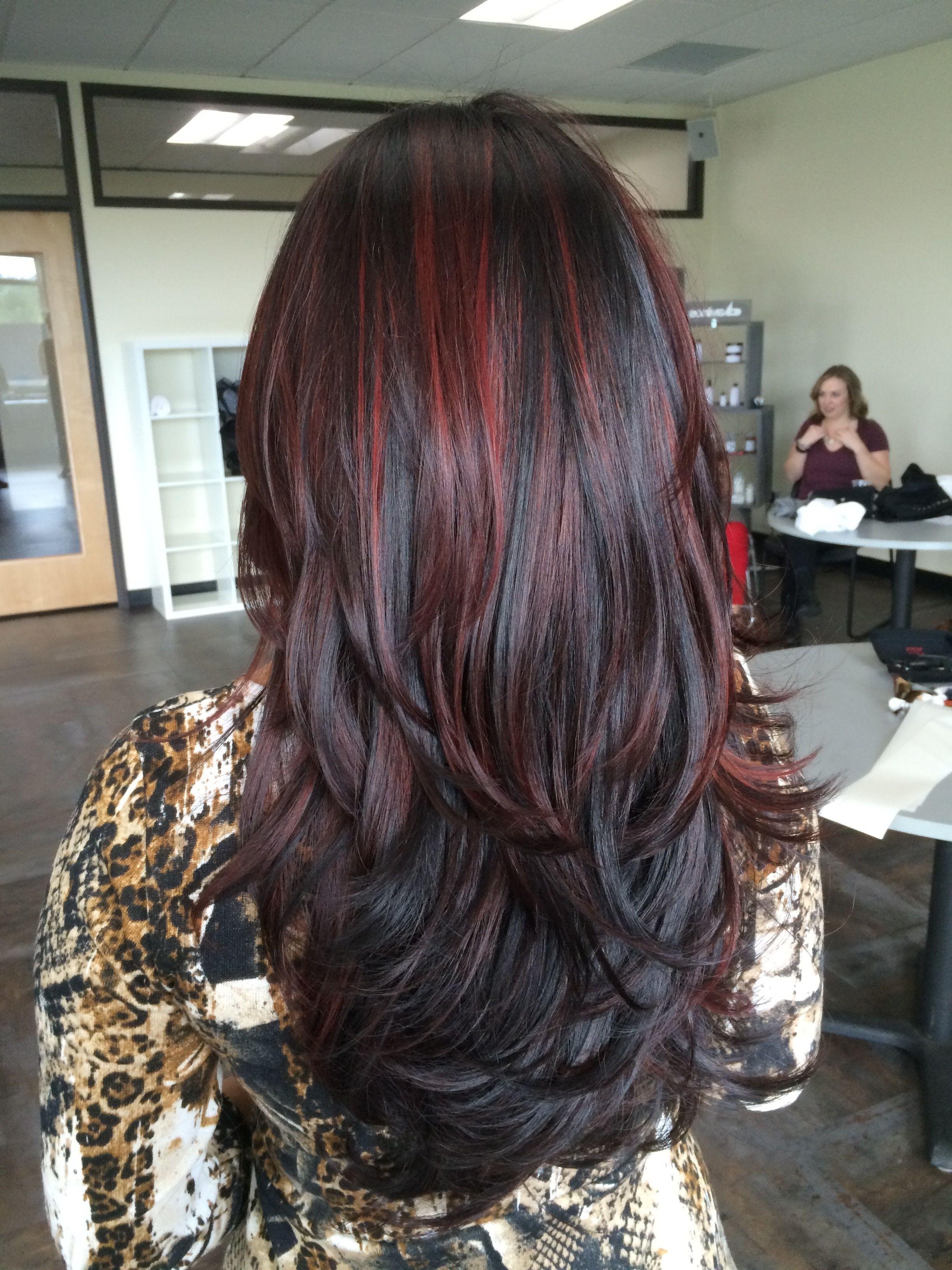 Balayage / Red Highlights / Dark Hair / Long Hair (View 12 of 20)