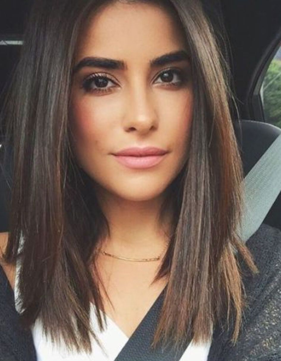 Beautiful Straight Brown Hair Minimalist Style With Blunt Cut In 2017 Blunt Cut Medium Hairstyles (View 7 of 20)