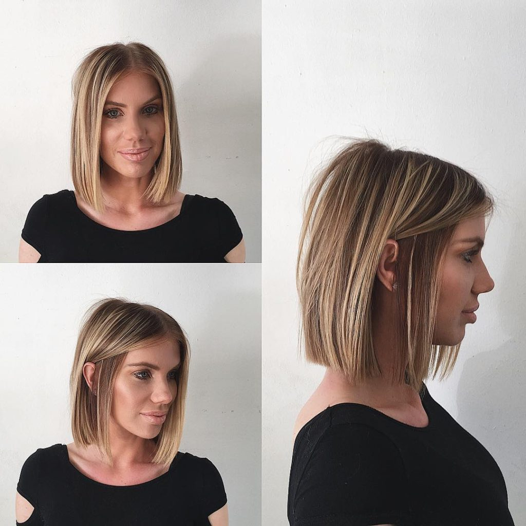 Best And Newest Blunt Medium Haircuts Regarding Women's Chic Blunt Blonde Bob With Highlights Medium Length Hairstyle (View 6 of 20)