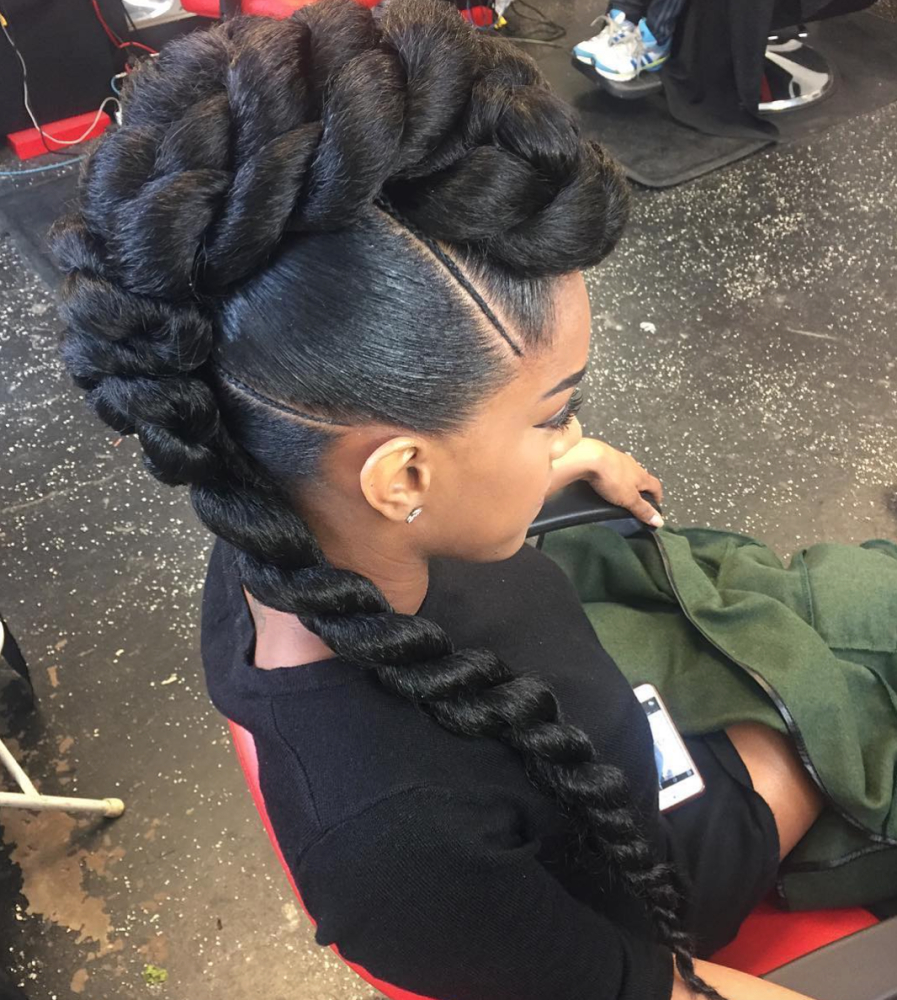 Best And Newest Braids And Twists Fauxhawk Hairstyles With Regard To Pinkreshawna On Hair (View 2 of 20)