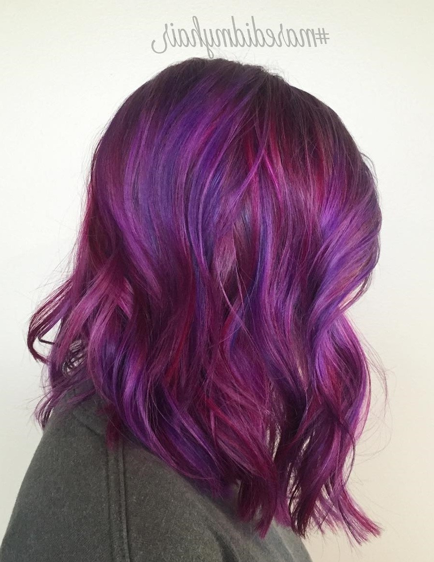 Best And Newest Pink Medium Hairstyles Throughout 43 Amazing Dark Purple Hair, Balayage/ombre/violet – Style Easily (View 8 of 20)