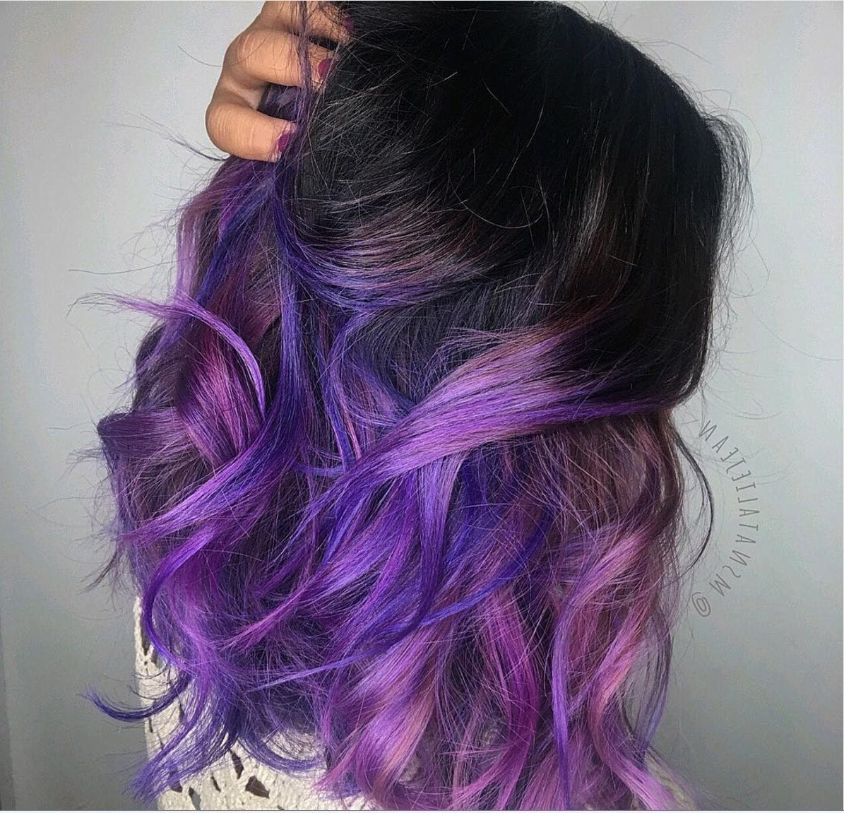 Best And Newest Purple And Black Medium Hairstyles Throughout 22 Ways To Style Purple Ombre Hair (View 7 of 20)
