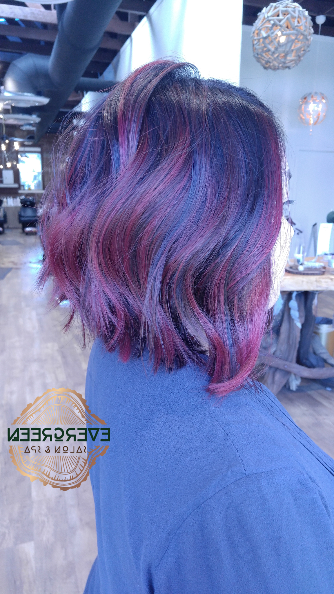 Black Purple Pink Red Blue Color Hair Short Medium Length Hair Wavy Within Popular Purple And Black Medium Hairstyles (View 2 of 20)