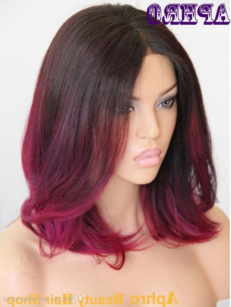 Black/purple Red Ombre Short Haircut Brazilian Hair Glueless With Favorite Red And Black Medium Hairstyles (View 5 of 20)