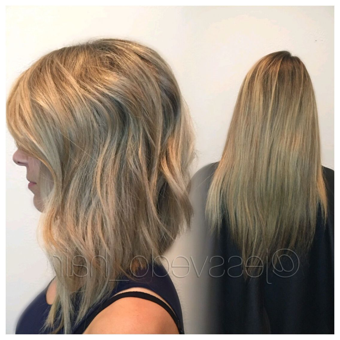 Blonde Textured A Line Bob With Long Layers And A Beach Wave Style In Recent Straight Layered Tresses In A Line Hairstyles (View 7 of 20)