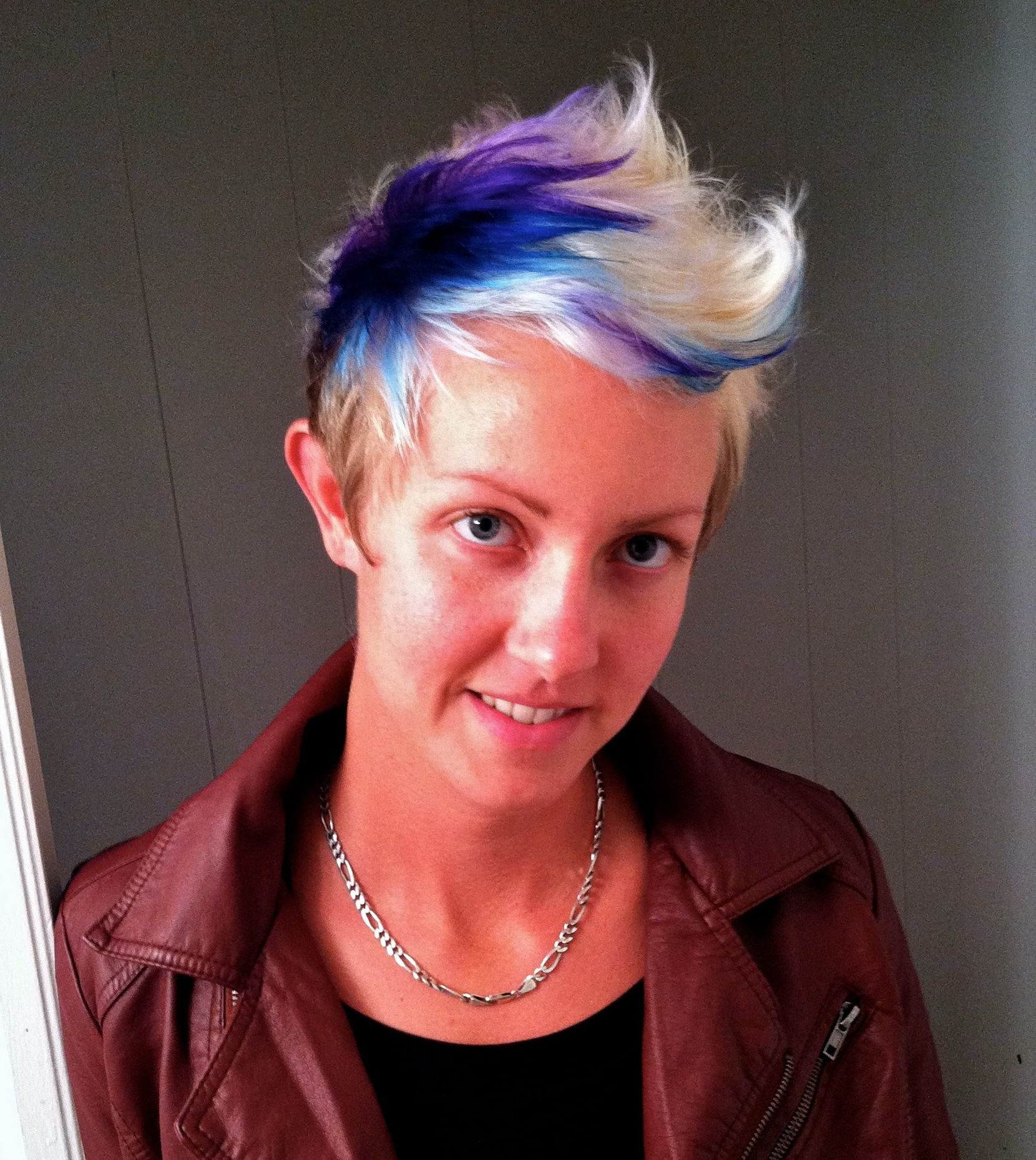 Blue And Purple Color Blocking, Half Platinum, Faux Hawk, Pixie Cut In Current Platinum Fauxhawk Haircuts (View 1 of 20)