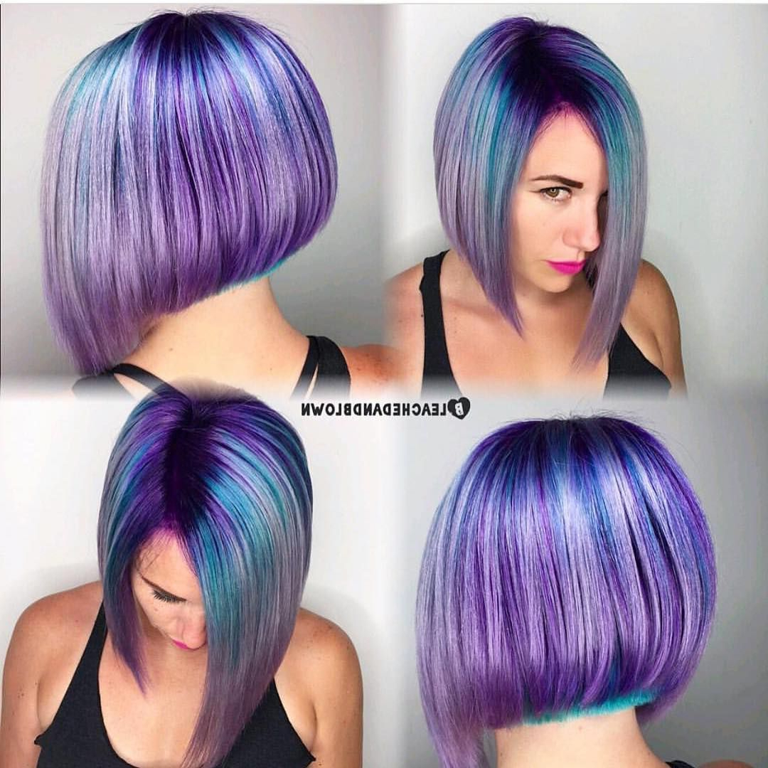 Bob, Purple And Turquoise Streaks (View 16 of 20)