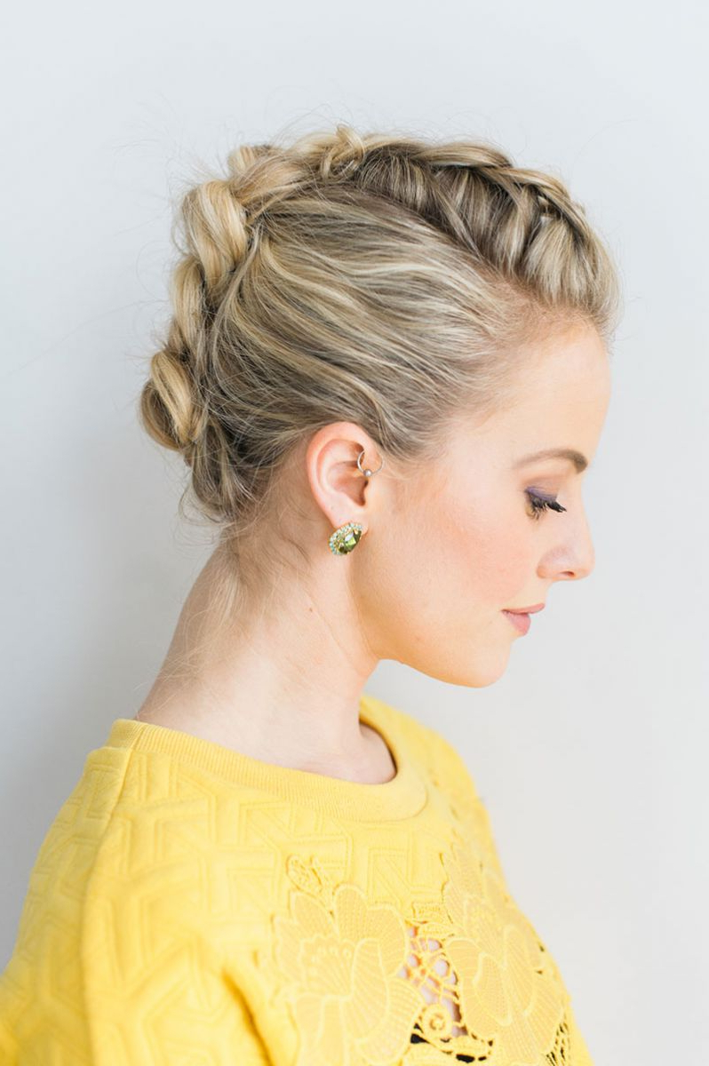 Braided Faux Hawk Tutorial – The Everygirl Regarding Current French Braid Pinup Faux Hawk Hairstyles (Gallery 7 of 20)