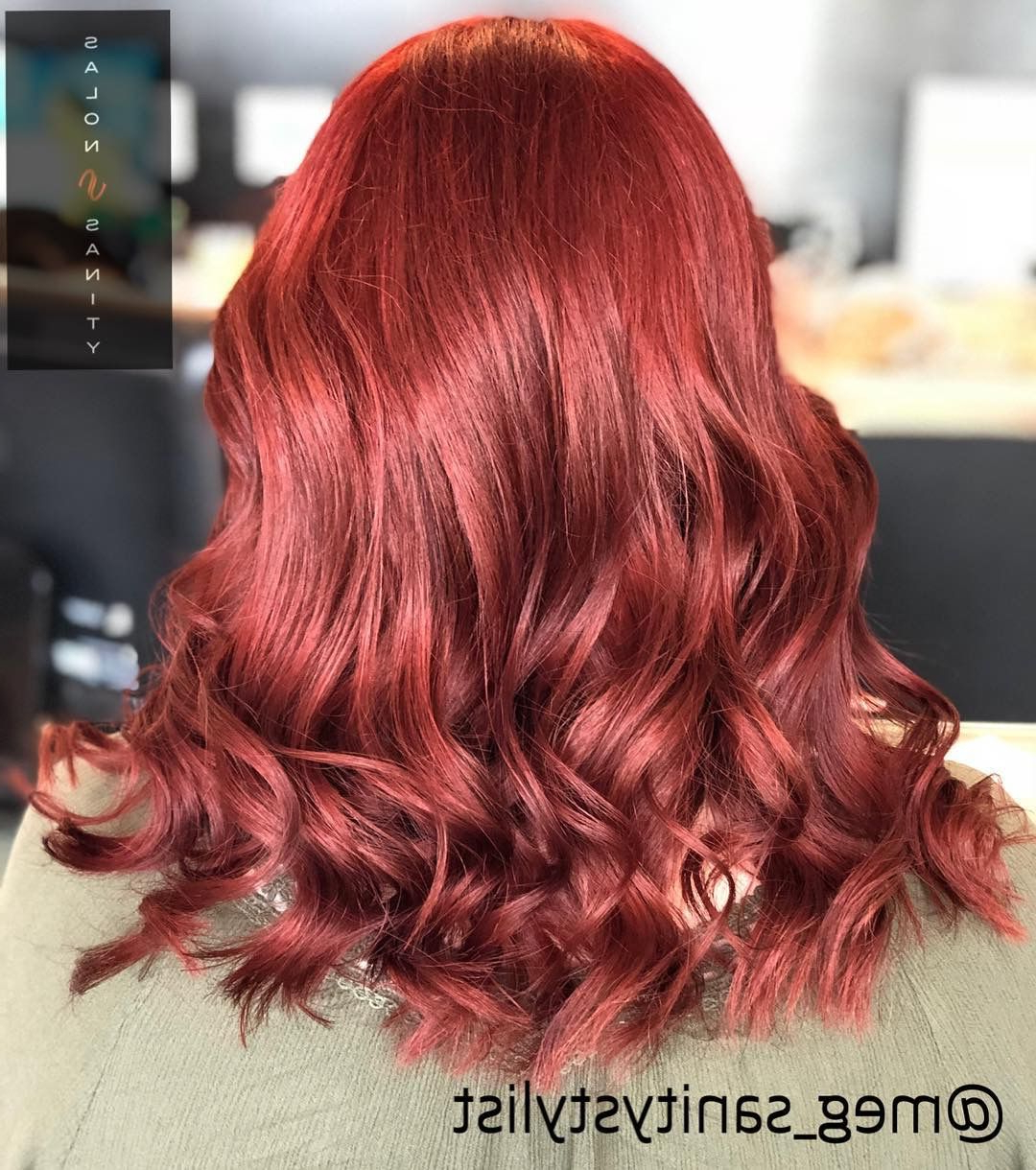 Bright Red Medium Hair #redhair #mediumhair #salonsanity #beachwaves Regarding Well Known Bright Red Medium Hairstyles (View 11 of 20)
