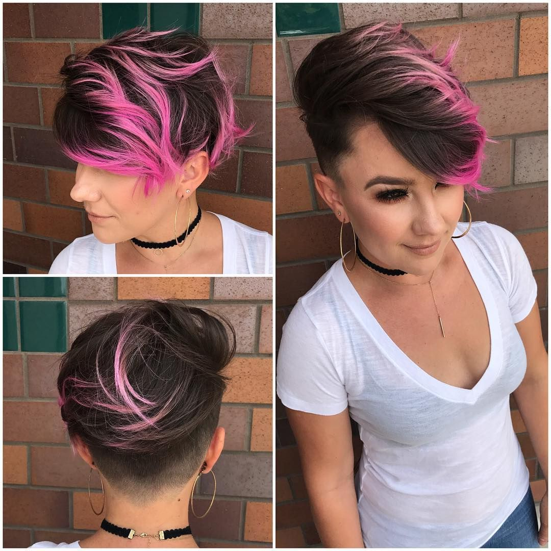 Brunette Combover Pixie With Bright Pink Highlights And (View 4 of 20)