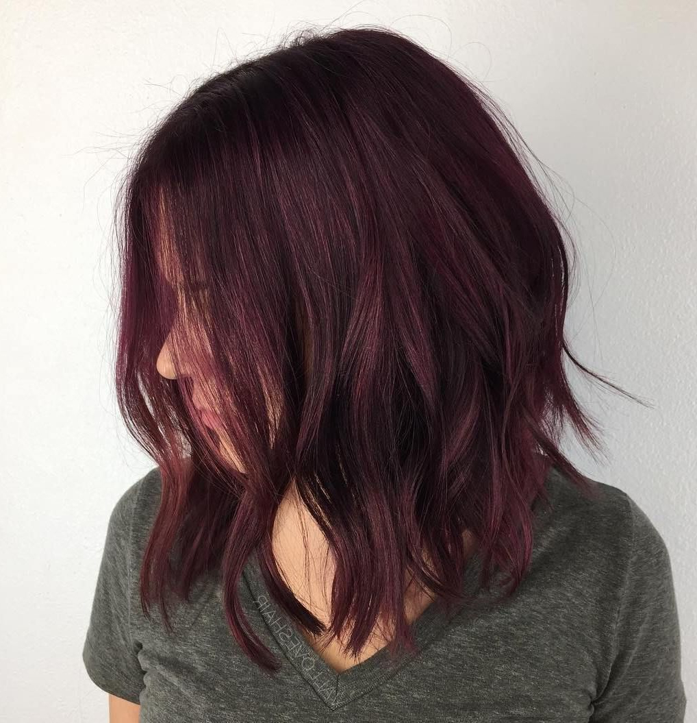 Burgundy Lob Cut With Layers (View 9 of 20)