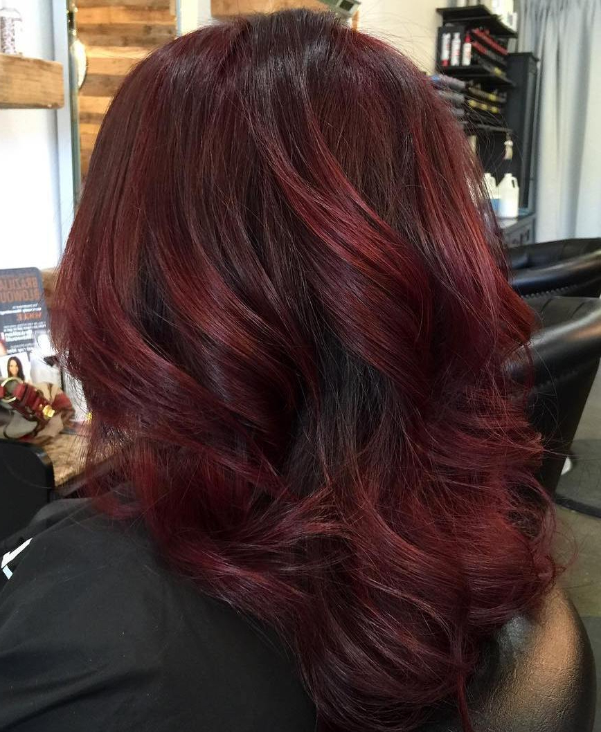 Burgundyith Vibrant Shades Photo Inspiring Of Hair Dark Red Inside Most Recently Released Burgundy Medium Hairstyles (View 5 of 20)