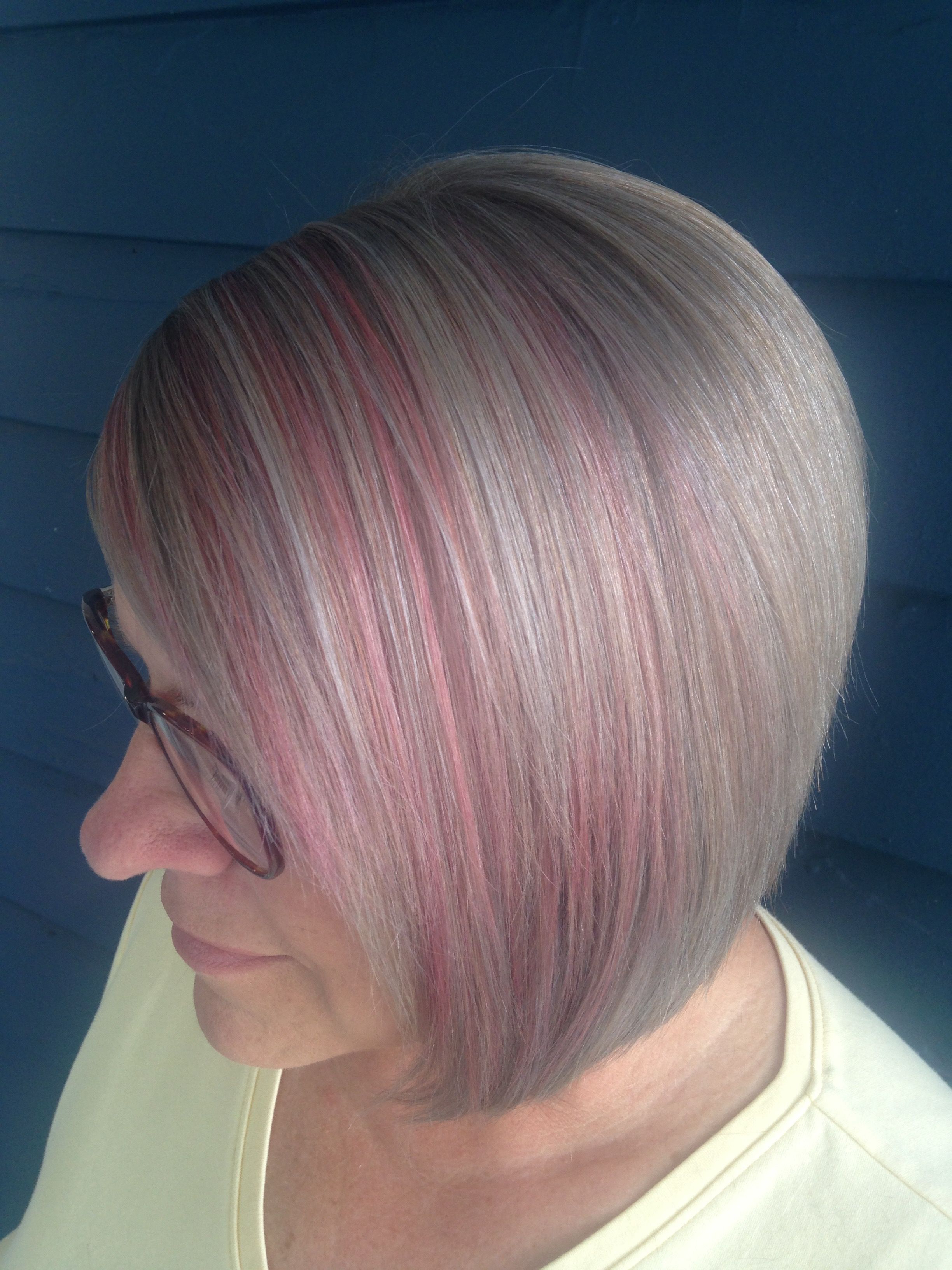 Candy Pink Highlights, Silver Grey Hair (View 11 of 20)