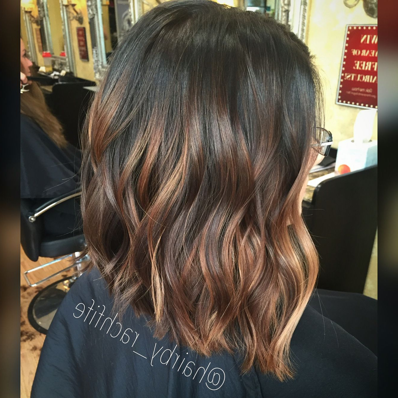 Caramel Balayage On A Long Bob Haircut. Fall Haircolor (View 10 of 20)