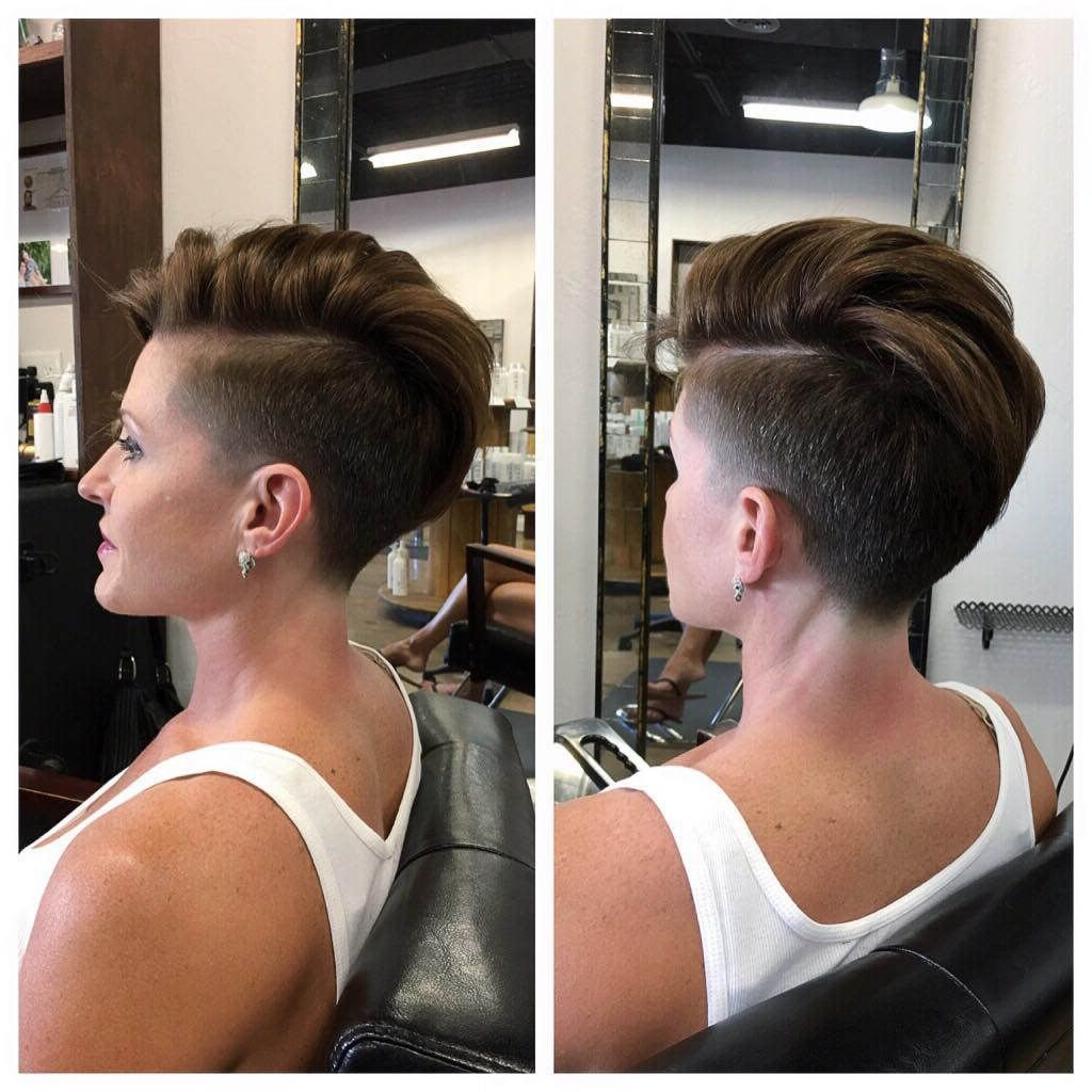 Chic Tapered Undercut With Side Part On Brunette Hair (View 5 of 20)