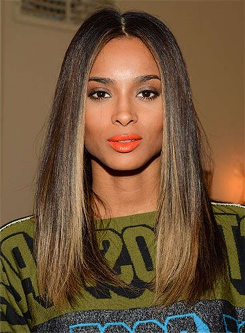 Ciara Hairstyles Blunt Cut Medium Straight Center Part Human Hair With Regard To Latest Center Part Medium Hairstyles (View 11 of 20)