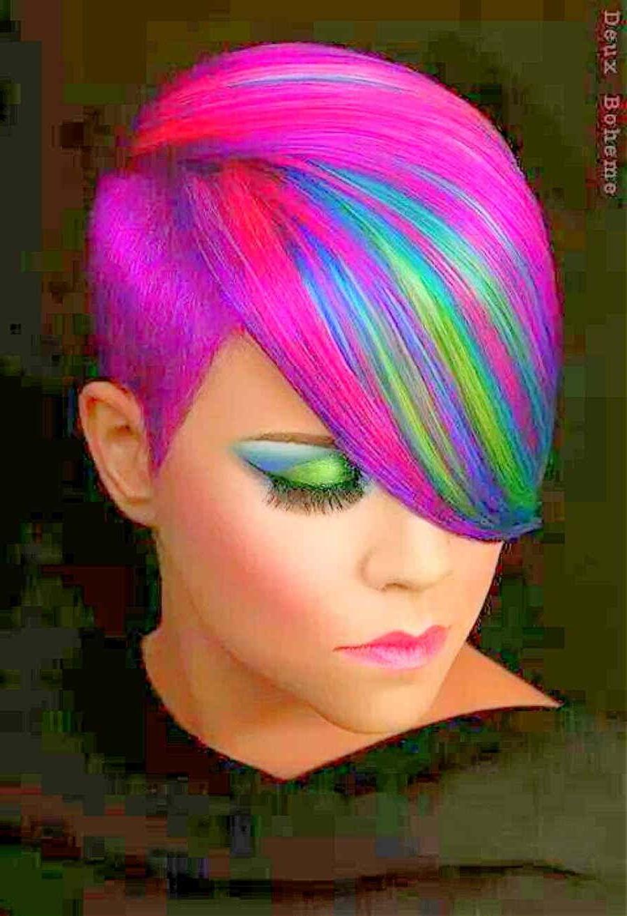 Cool Rainbow Hair – Rainbow Short Haircut (View 3 of 20)
