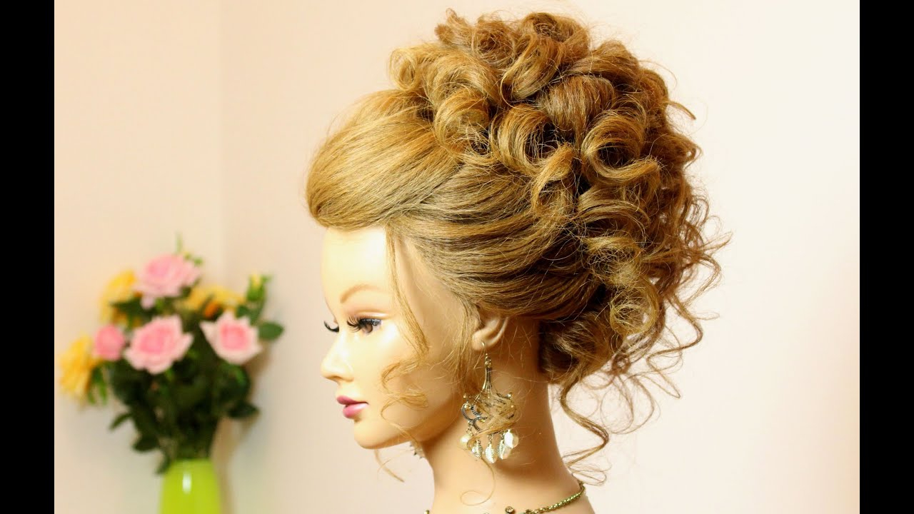 Curly Hairstyle For Long Medium Hair. Wedding Prom Updo (View 9 of 20)