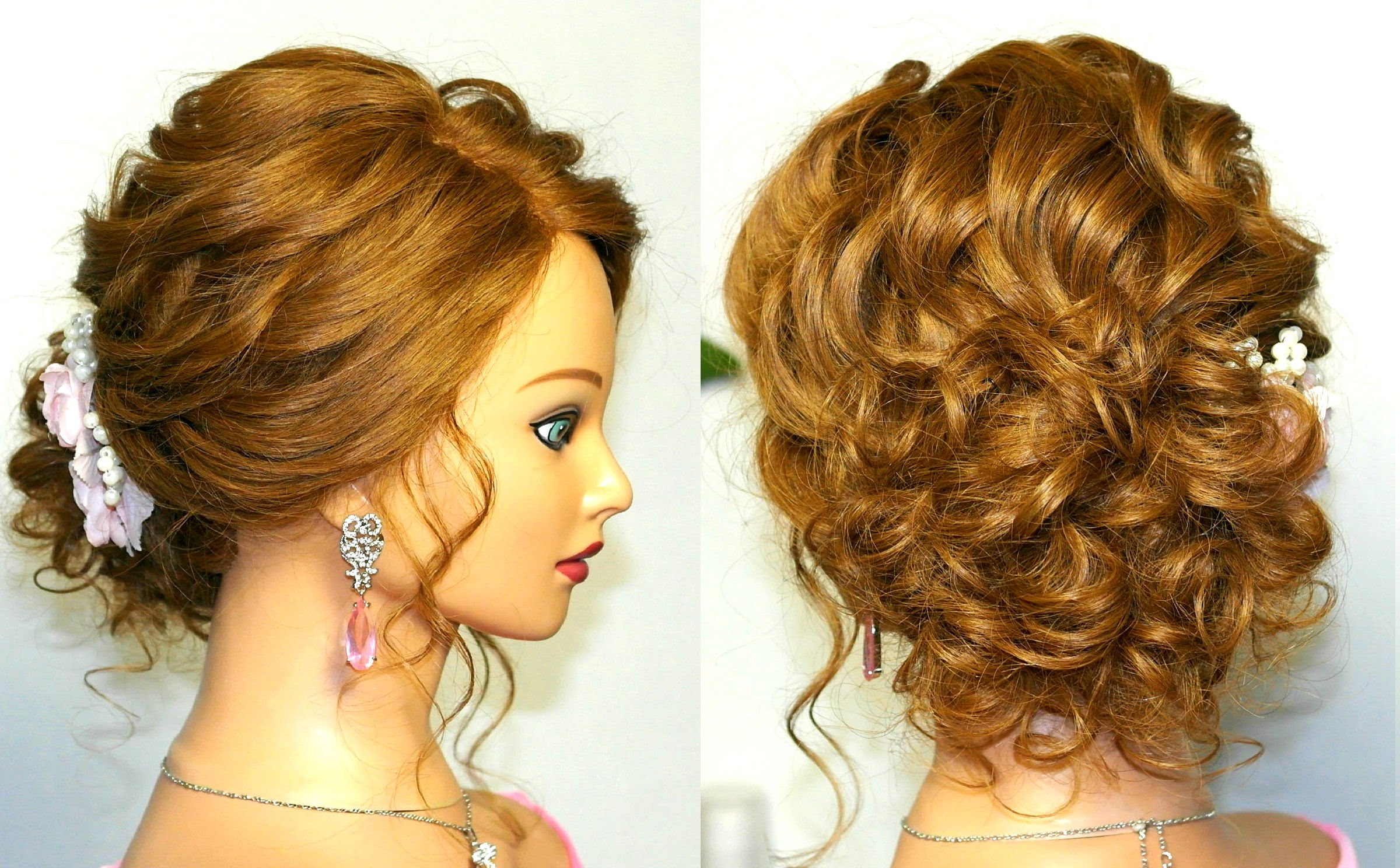 Curly Hairstyle : Prom Wedding Hairstyle Curly Updo For Long Medium For Newest Medium Hairstyles For Prom Updos (View 12 of 20)