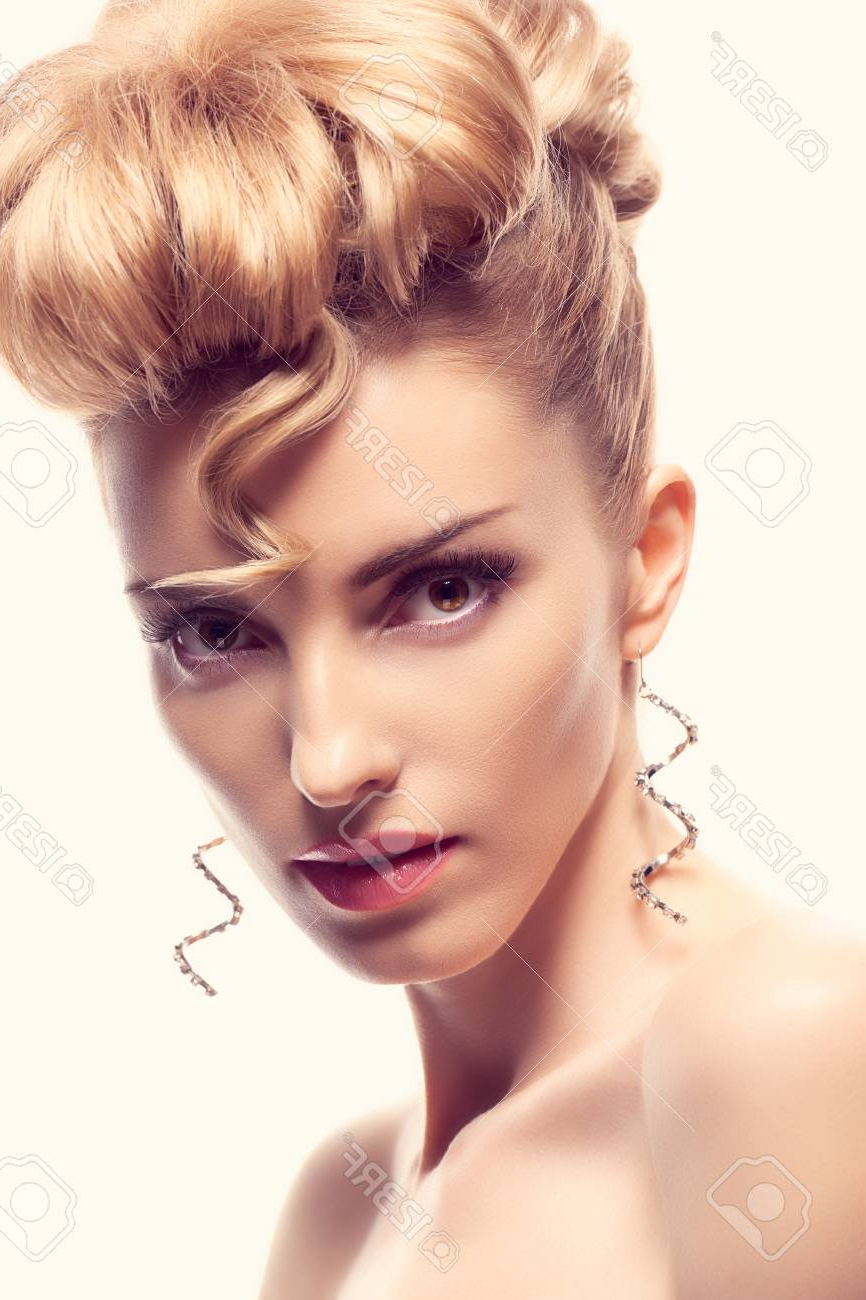 Current Blonde Mohawk Hairstyles Pertaining To Fashion Natural Makeup. Beauty Woman With Mohawk Hairstyle (View 16 of 20)
