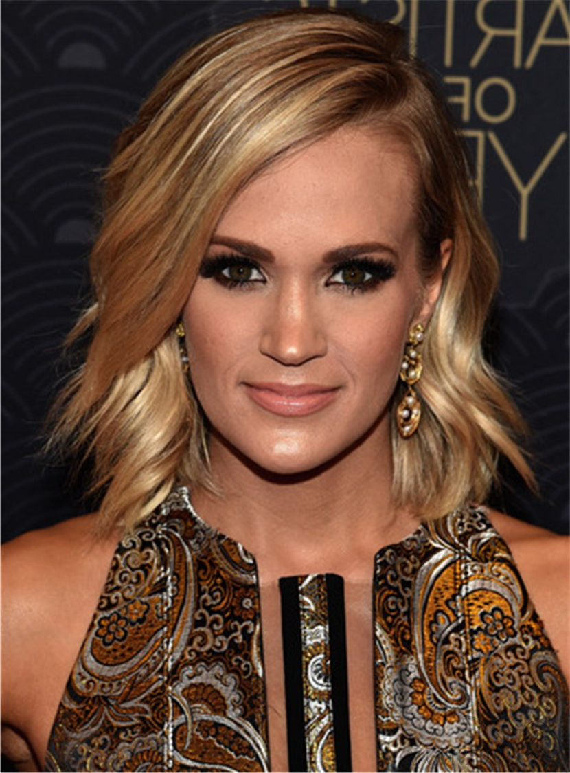 Current Carrie Underwood Medium Hairstyles With Regard To Carrie Underwood Medium Wavy Cut Side Swept Lace Front Synthetic (View 11 of 20)