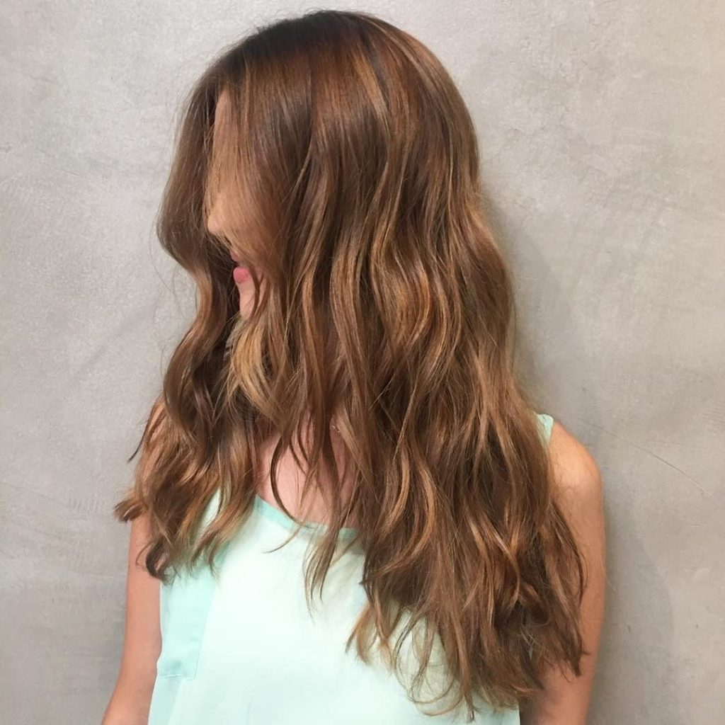 Current Feathered V Layers Hairstyles Throughout Women's Long Wavy V Cut Layers On Warm Light Brown Hair (View 15 of 20)