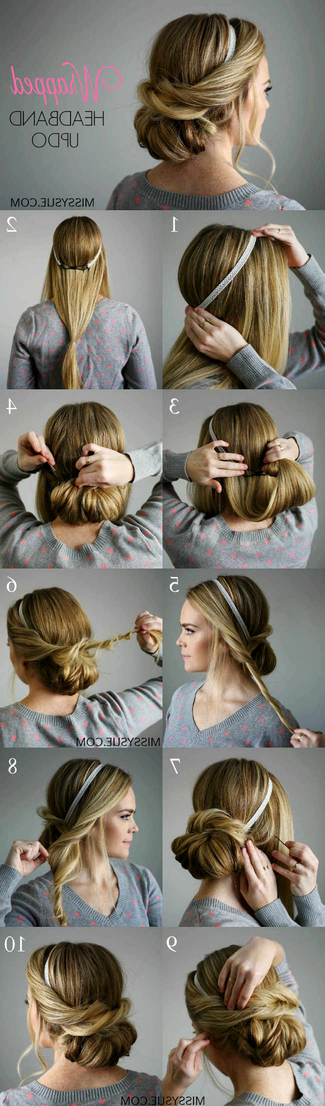 Current Medium Hairstyles With Headbands Regarding Wrapped Headband Updo (View 7 of 20)
