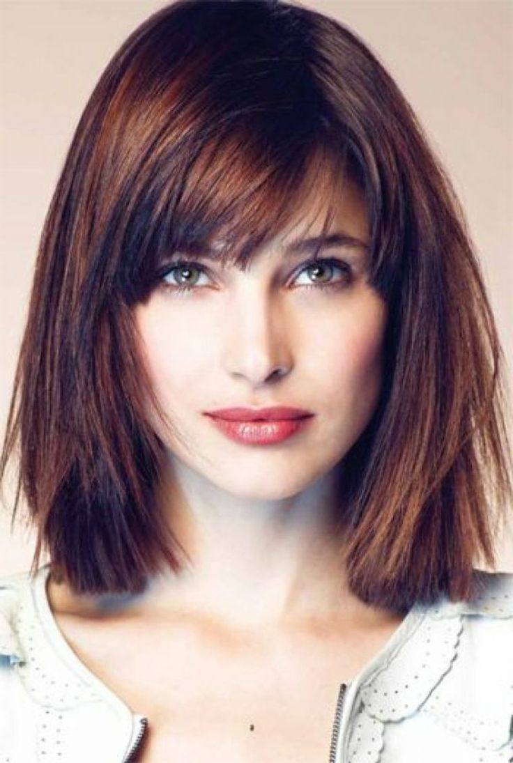 Current Medium Hairstyles With Short Bangs Throughout Medium Blunt Bob Haircut With Bangs (View 8 of 20)