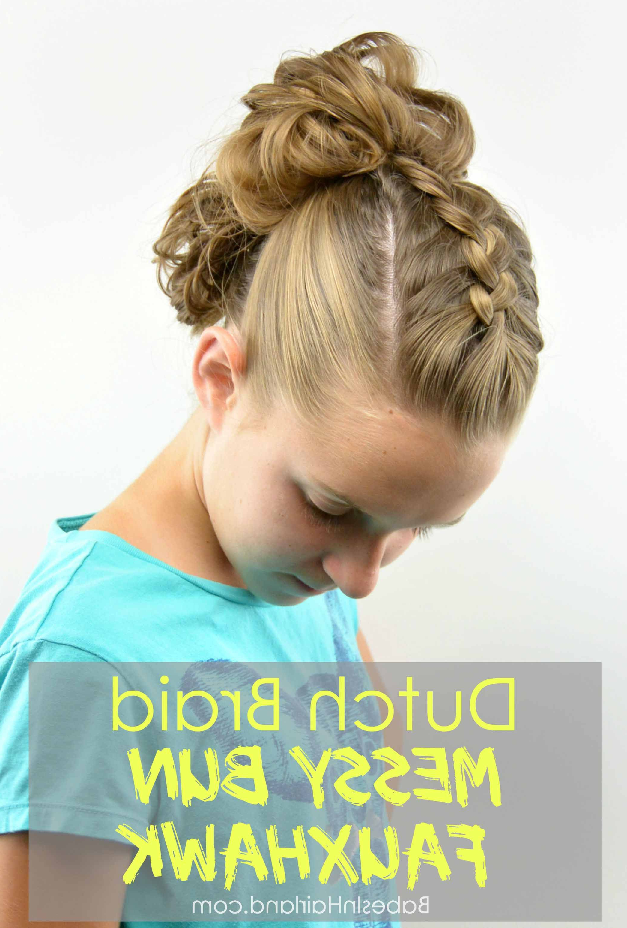 Current Messy Braided Faux Hawk Hairstyles Pertaining To Dutch Braid Messy Bun Fauxhawk – Babes In Hairland (View 8 of 20)