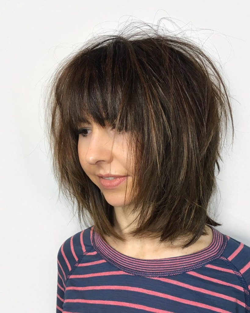 Current Shaggy Medium Hairstyles Throughout Women's Shaggy Brunette Bob With Fringe Bangs And Straight Undone (View 10 of 20)