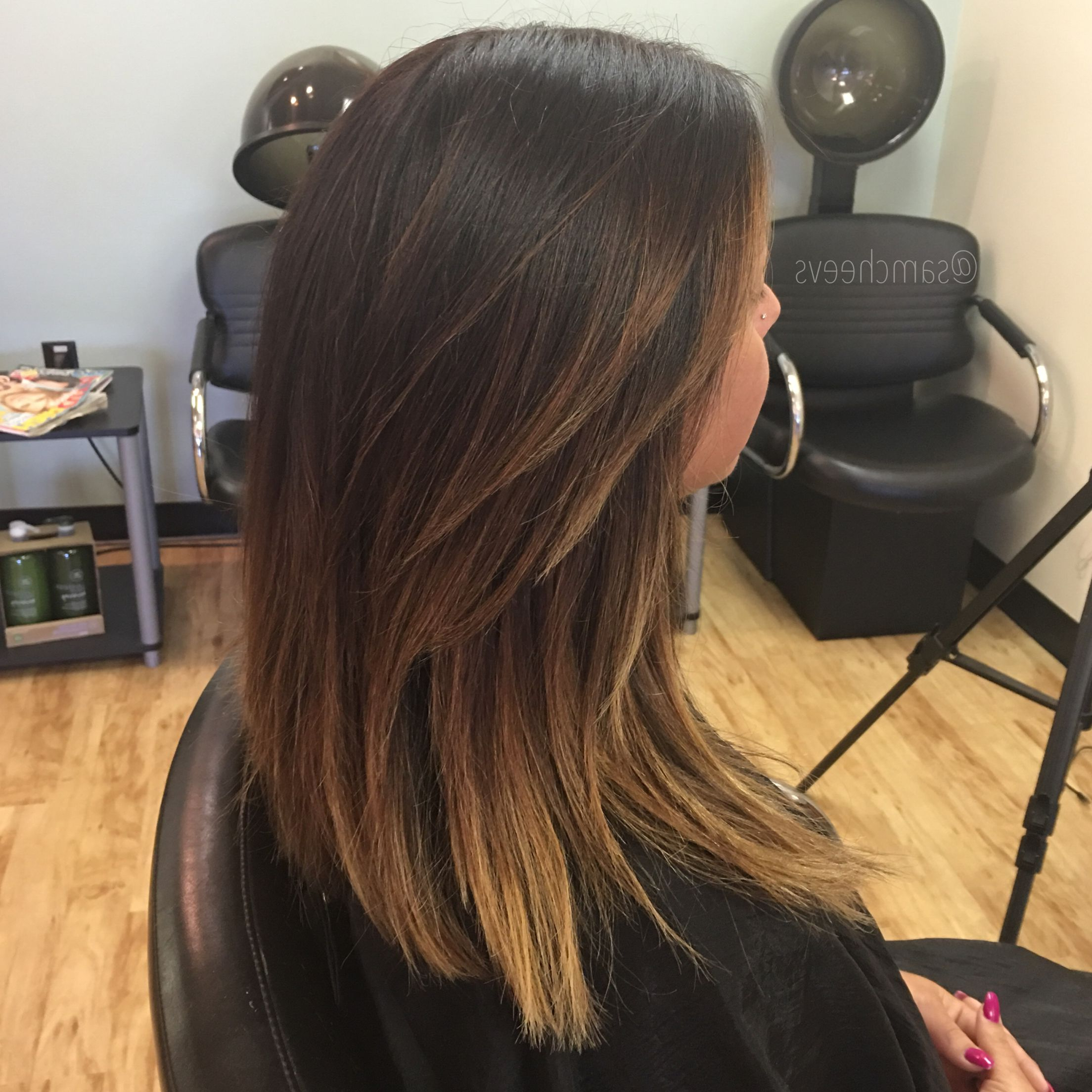 Dark Hair Ombré .summer Hair Styles For Brown Hair. Medium Length Regarding Widely Used Medium Hairstyles For Summer (Gallery 15 of 20)