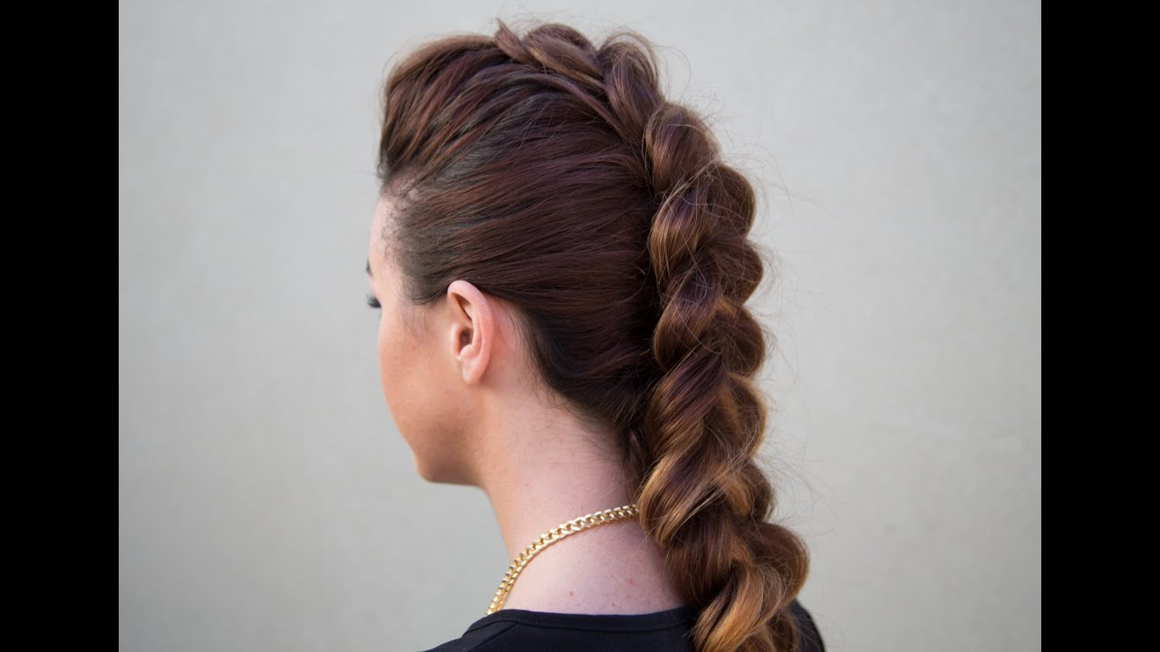Dutch Braid Faux Hawk – Youtube Pertaining To Current Messy Braided Faux Hawk Hairstyles (View 9 of 20)