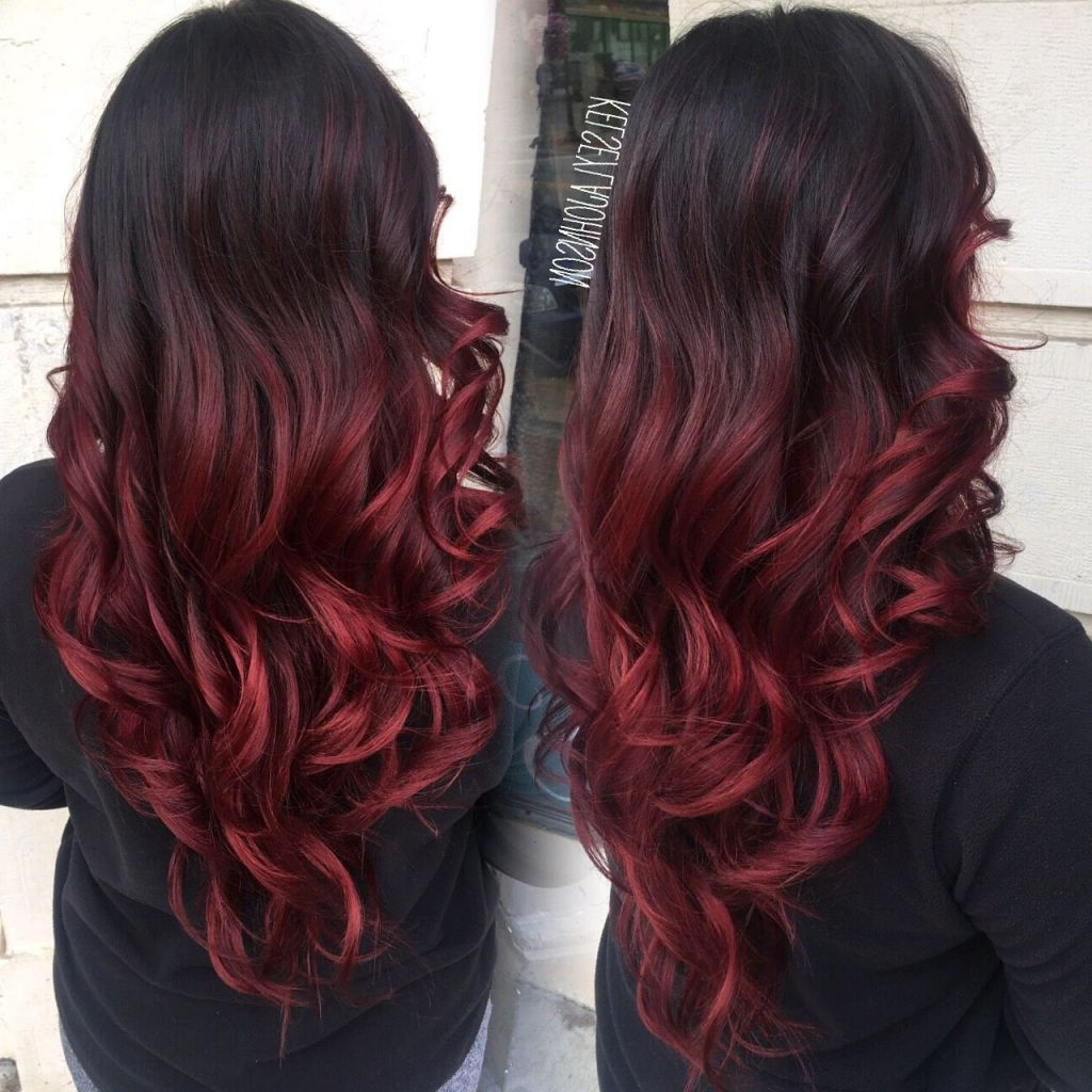√ 24+ Fresh Hairstyles With Red Highlights: Dark Brown To Red Ombre For Most Recently Released Medium Hairstyles With Red Highlights (View 11 of 20)