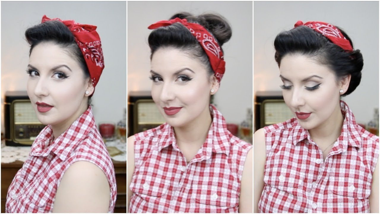 Easy Pinup Hairstyles With Bandana For Long To Medium Hair Length Intended For Most Up To Date Medium Hairstyles With Bandanas (View 14 of 20)