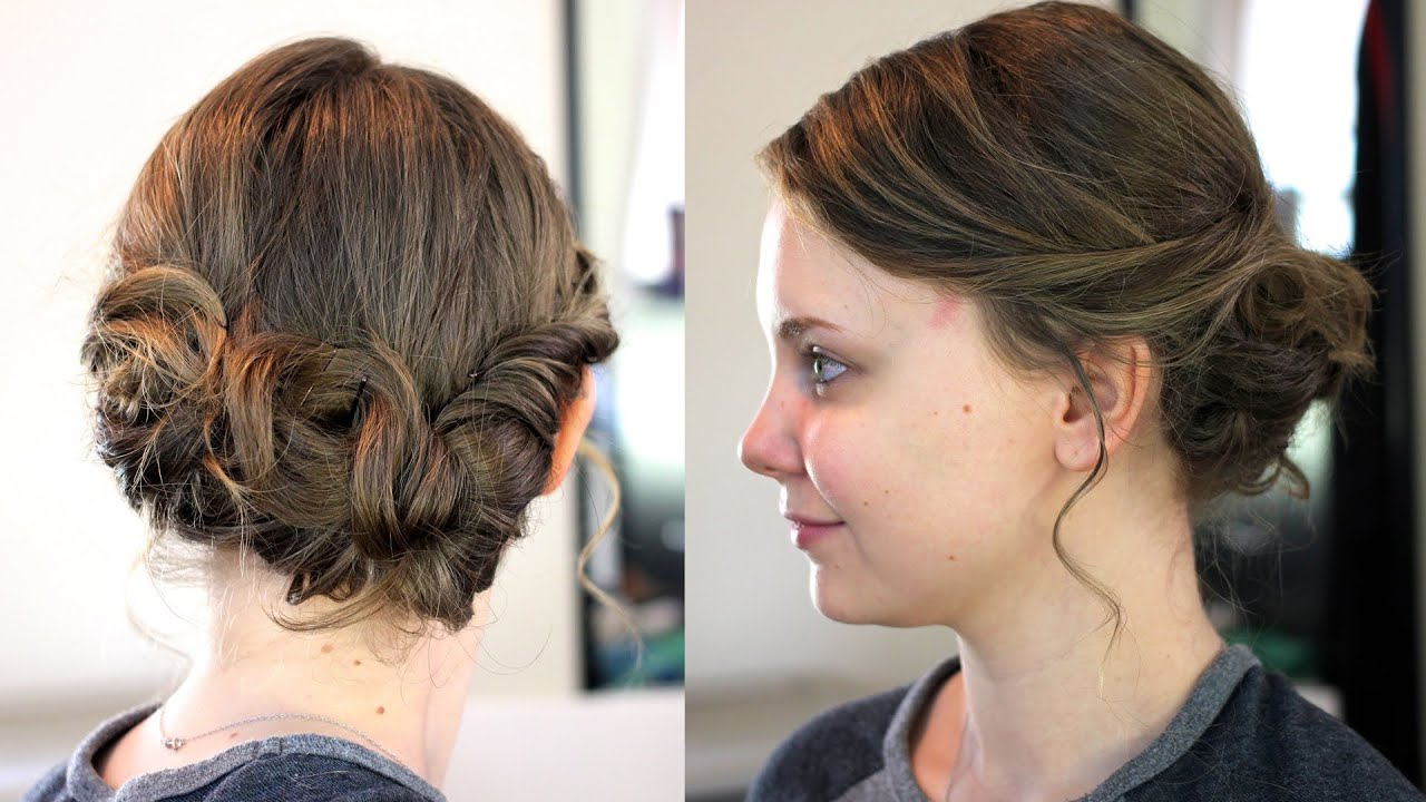 Easy Updo For Medium/shoulder Length Hair – Youtube Regarding 2018 Medium Hairstyles With Bobby Pins (Gallery 15 of 20)