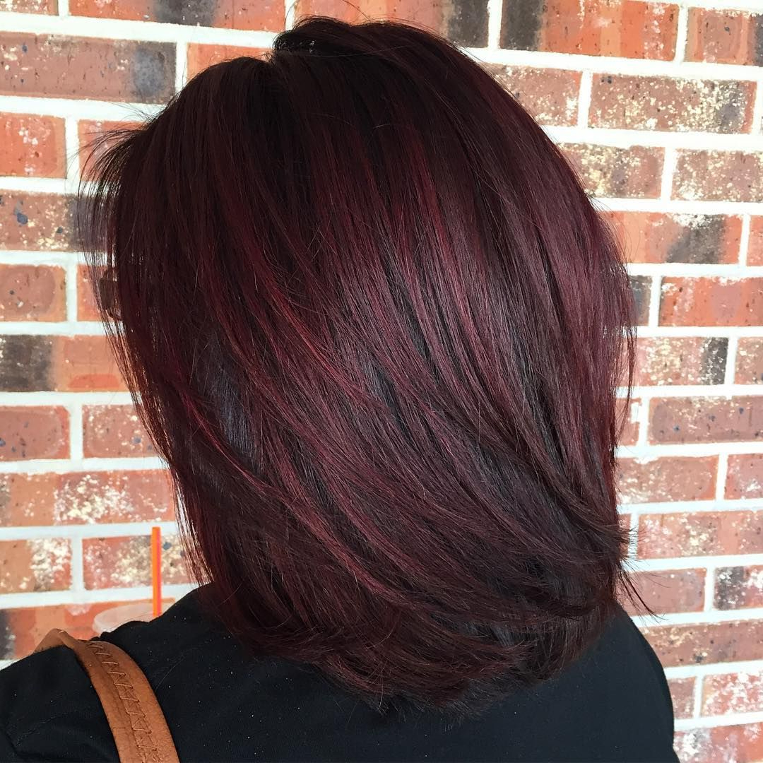 Famous Burgundy Medium Hairstyles In Layered Lob For Black Hair With Burgundy Balayage (View 6 of 20)
