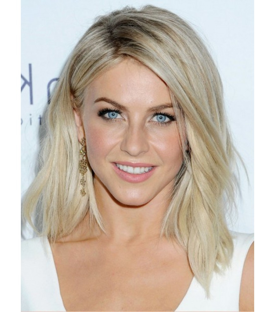 Famous Julianne Hough Medium Hairstyles Throughout Classic Julianne Hough Medium Wavy Blonde Human Hair Lace Front Wig (View 16 of 20)