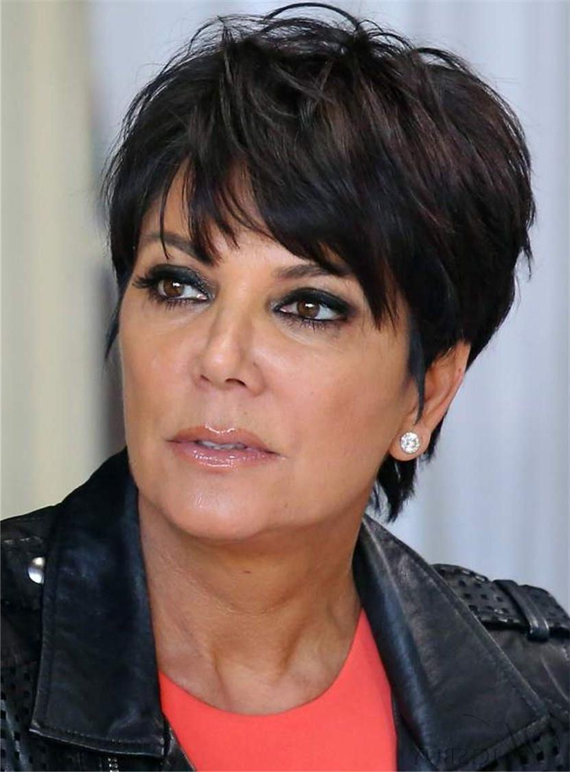 Famous Kris Jenner Medium Haircuts Inside Kris Jenner Short Straight Human Hair Capless Wigs For Older Women (View 2 of 20)
