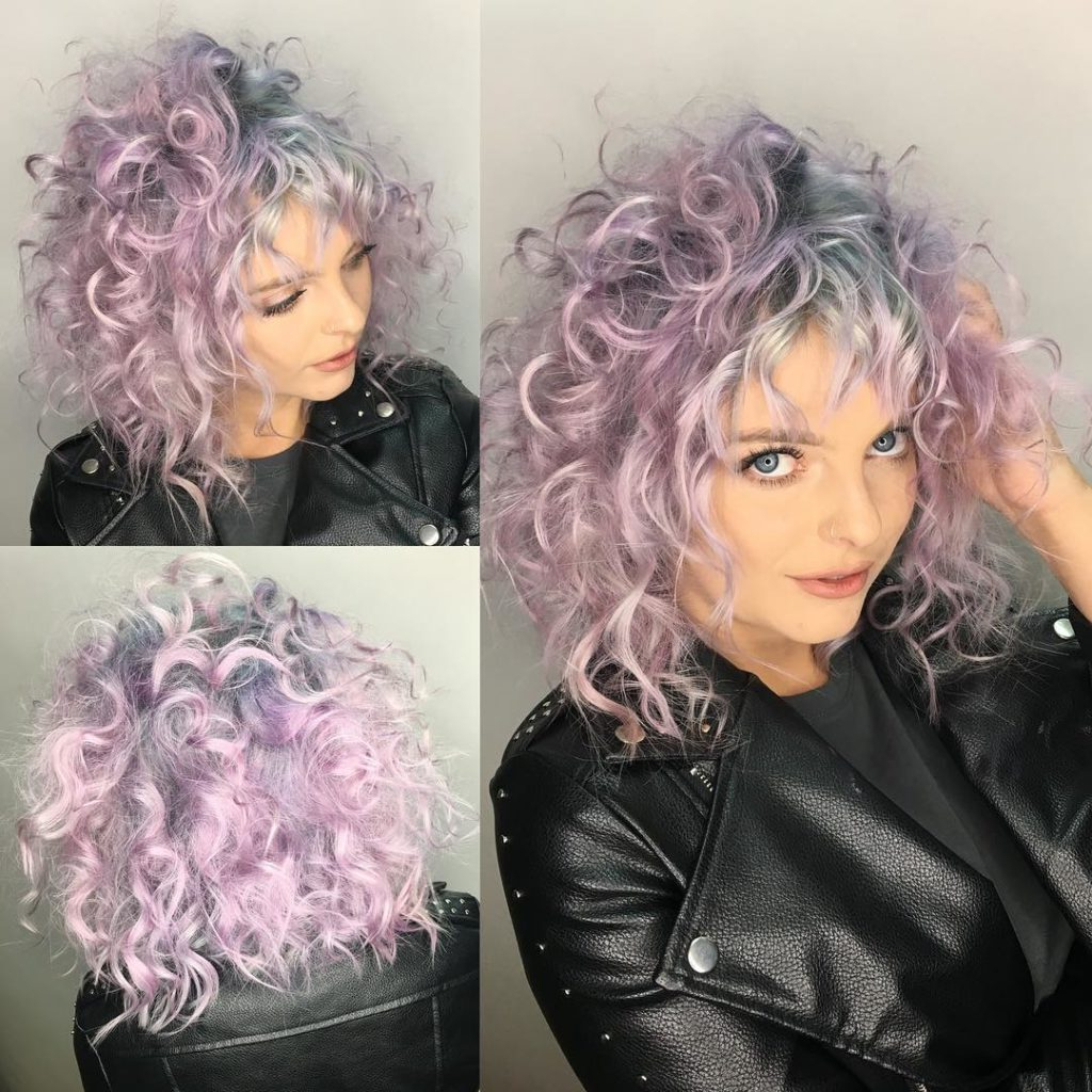 Famous Medium Messy Curly Haircuts Throughout Women's Messy Curly Shoulder Length Cut With Pink Color And Silver (View 8 of 20)