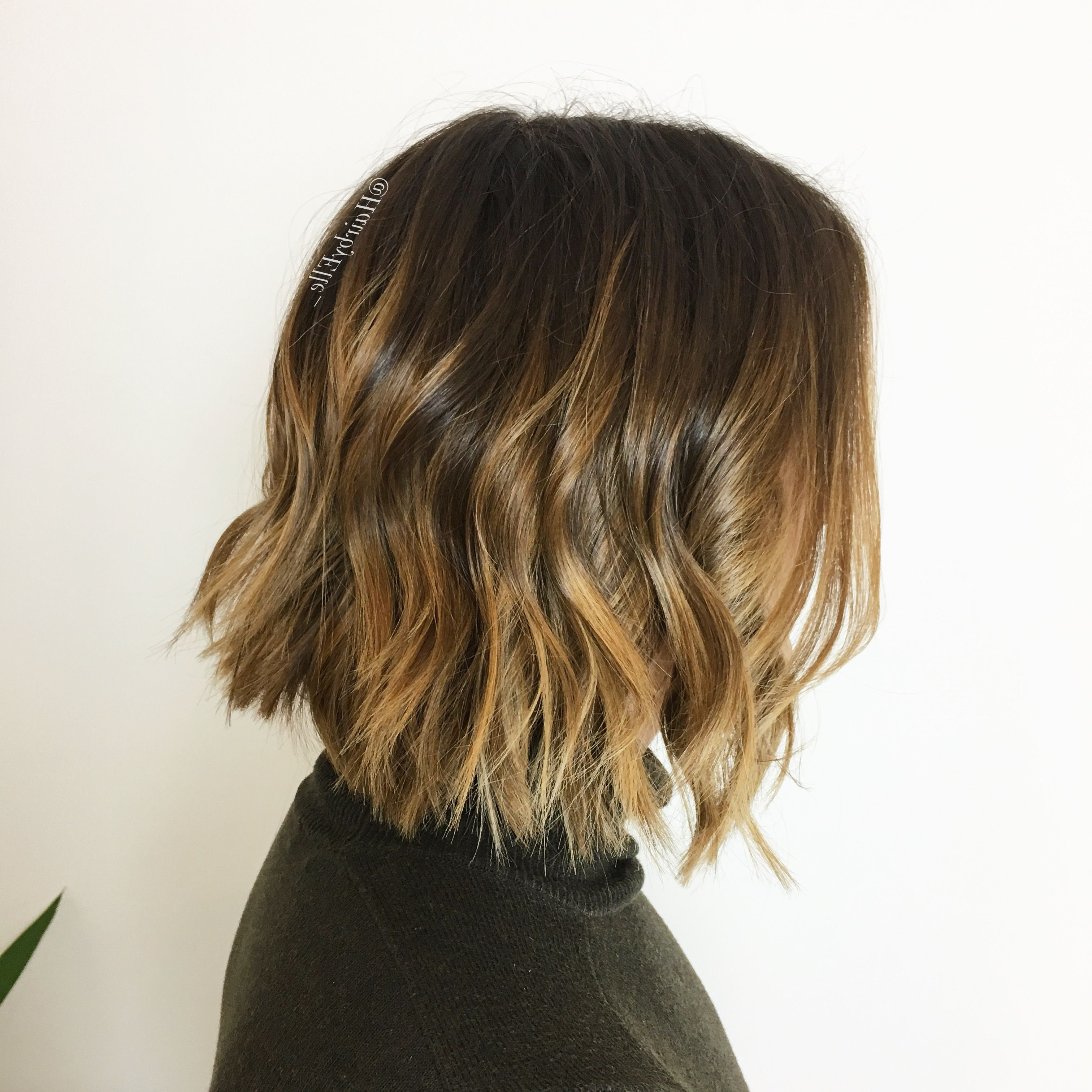 Famous Point Cut Bob Hairstyles With Caramel Balayage With Choppy Blunt Bob, Balayage Caramel Highlights With A Textured Wave (View 5 of 20)