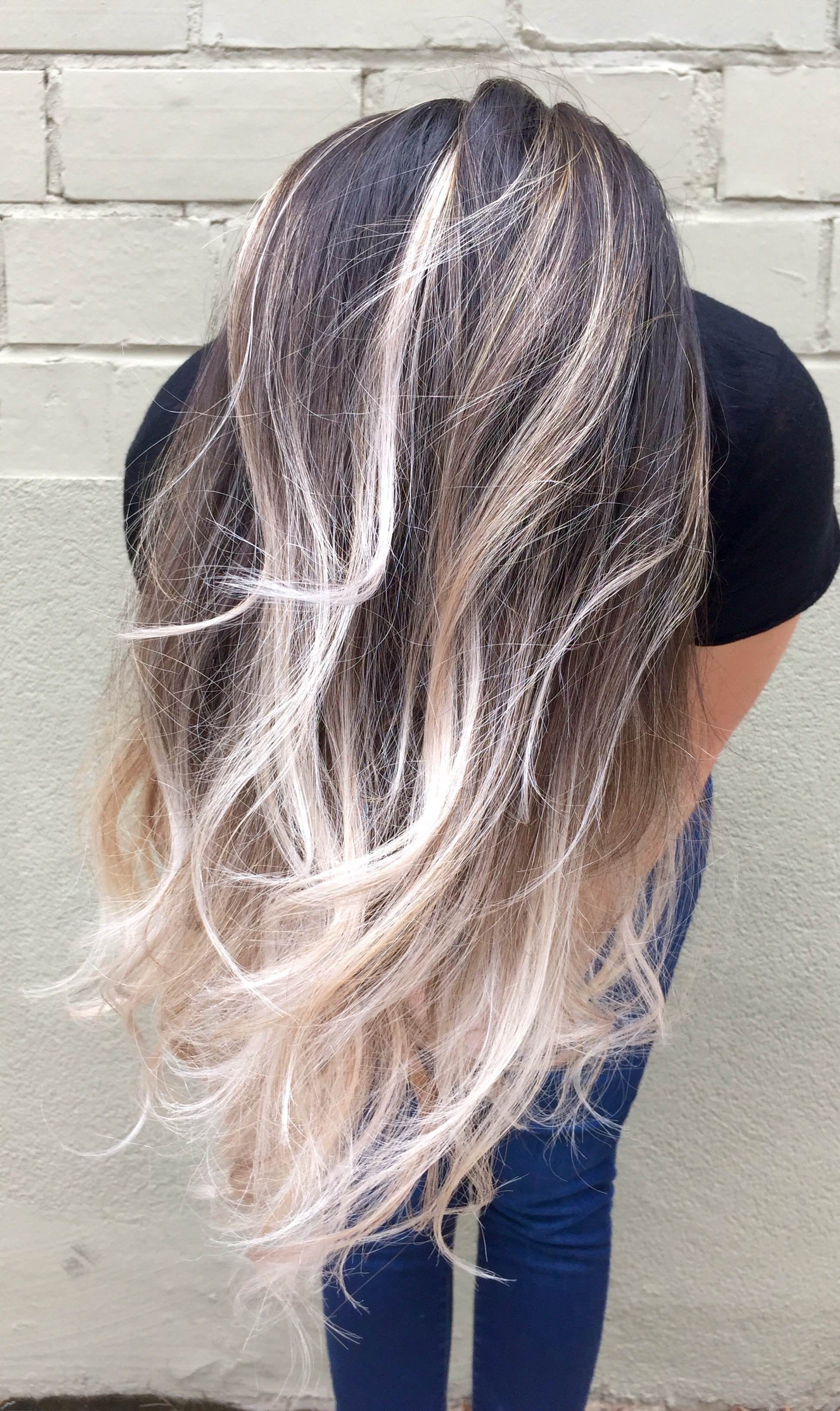 Famous Salty Beach Blonde Layers Hairstyles With Dark Brown To Silver Ashmegan @ Crown Beauty Bar Fayetteville (View 8 of 20)