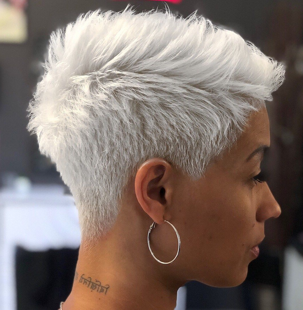 Famous Silvery White Mohawk Hairstyles Intended For 60 Great Short Hairstyles For Black Women In (View 14 of 20)
