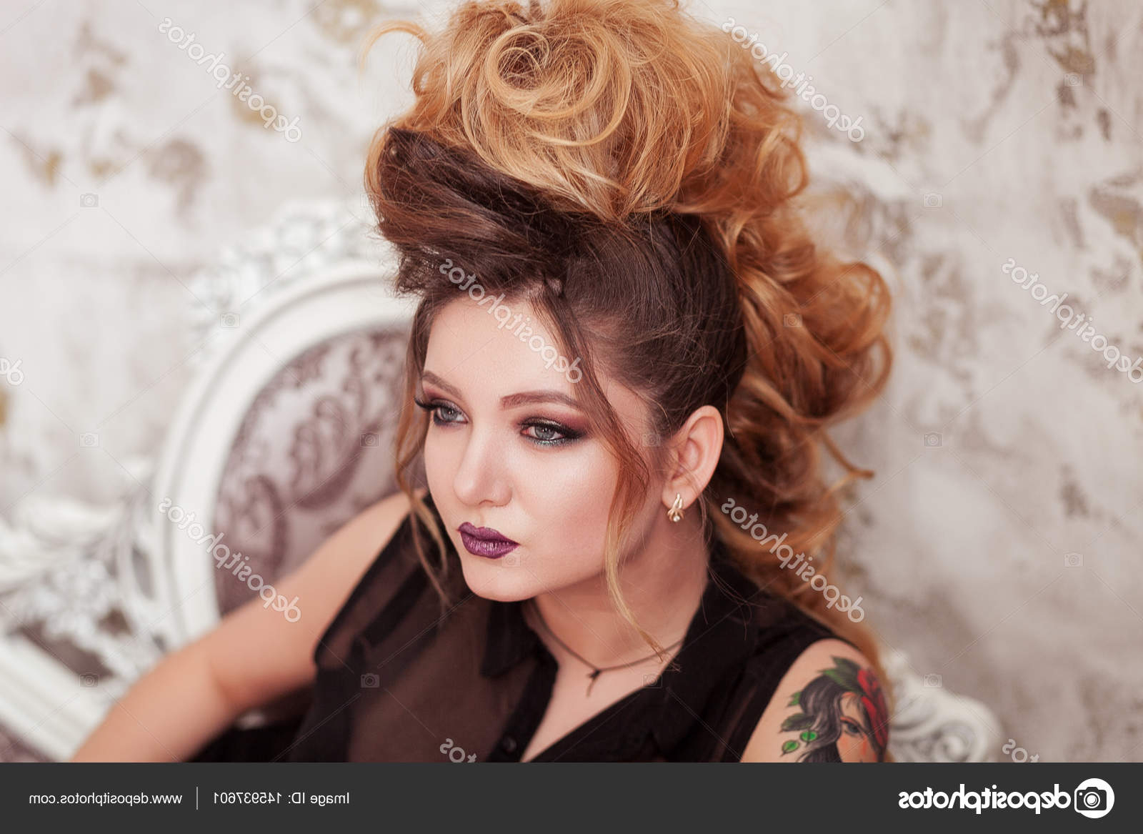 Fashion Shiny Makeup. Beauty Woman With Mohawk Hairstyle (View 6 of 20)