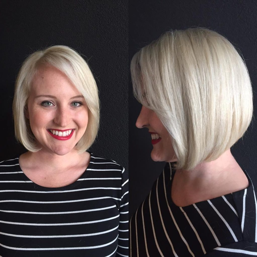 Fashionable Medium Haircuts Side Swept Bangs Pertaining To Women's Classic Platinum Bob With Side Swept Bangs Medium Length (View 17 of 20)