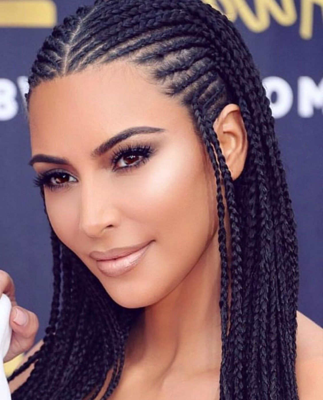 Fashionable Sweet Tart Peaked Faux Hawk Hairstyles Pertaining To Kim Kardashian Rocks African Braids To The Mtv Movie And Tv Awards (View 14 of 20)