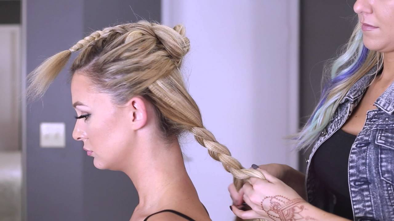 Faux Hawk Braided Tutorial On Long Hair – Youtube Throughout Latest Messy Fishtail Faux Hawk Hairstyles (View 16 of 20)